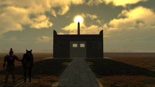 This virtual simulation shows the sun atop the obelisk with the Altar of Peace in the foreground.