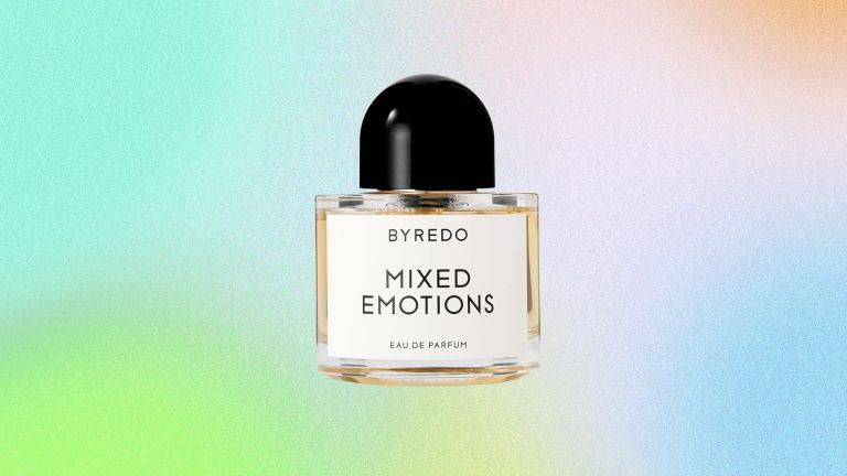 Byredo Mixed Emotions perfume bottle on a colorful gradient