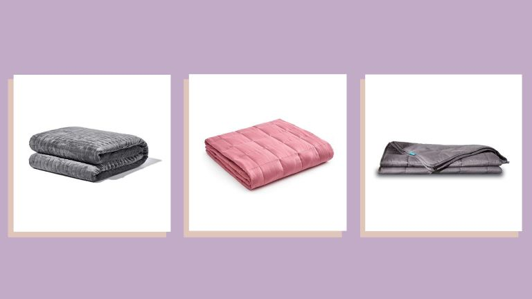 three of the best weighted blanket sales on purple background