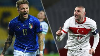 Turkey vs Italy live stream Euro 2020 — image showing Ciro Immobile of Italy and Burak Yilmaz of Turkey