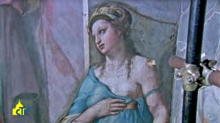 In the Room of Constantine at the Vatican, two figures at the frescoes' edges, women who represent Friendship and Justice, were painted by Raphael, according to restorers.