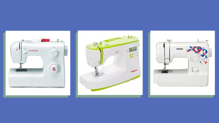 three of w&h's picks for the best sewing machines for beginners on a blue background
