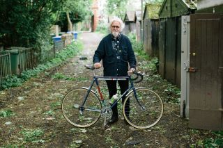 Billy with a racing bicycle