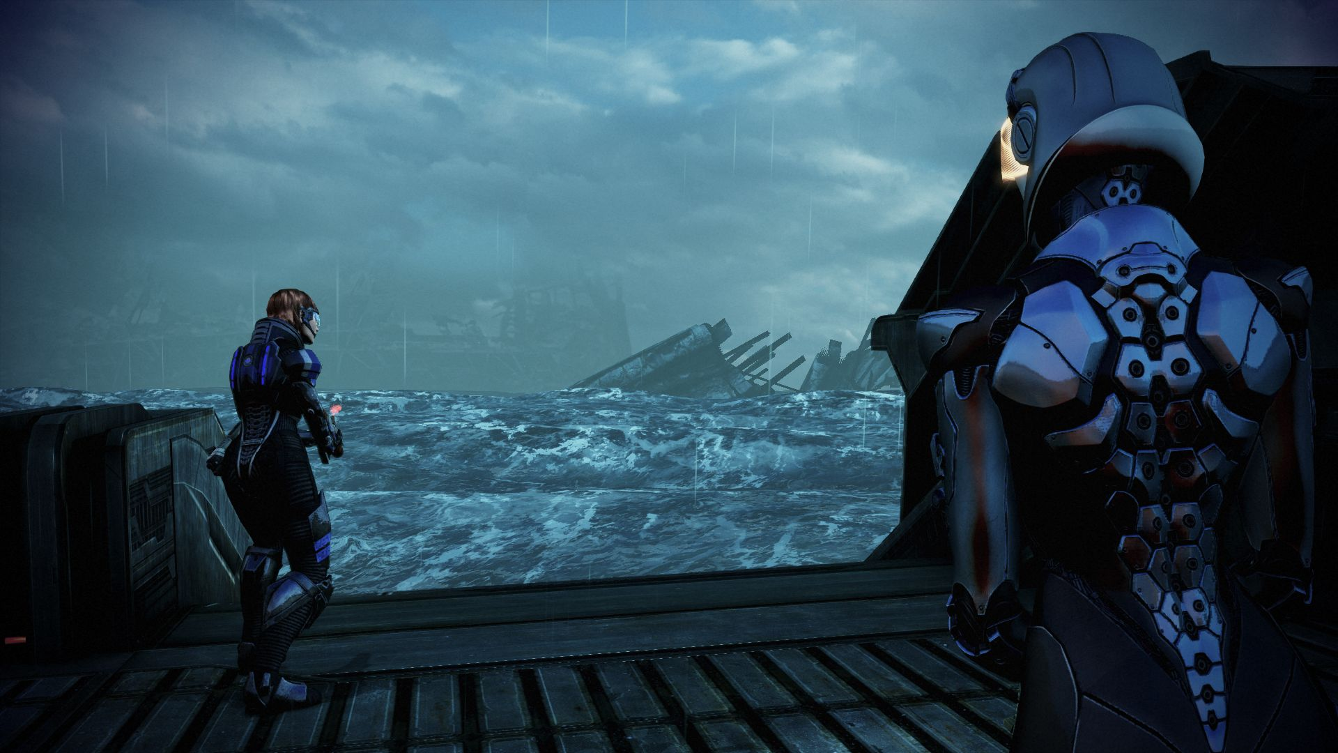 An ocean planet in Mass Effect 3's Leviathan DLC