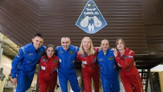 The SIRIUS-19 mock space crew includes (from left to right): Reinhold Povilaitis (USA); Daria Zhidova (Russia); cosmonaut Yevgeny Tarelkin (Russia); Anastasia Stepanova (Russia); Allen Mirkadyrov (USA) and Stephania Fedeye (Russia).