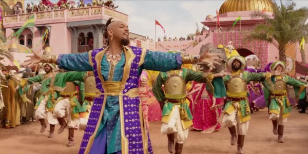 Genie (Will Smith) in human form introducing Prince Ali in Aladdin
