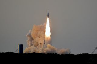 NASA's Orion Ascent Abort-2 (AA-2) test lifts off from Complex 46 at Cape Canaveral Air Force Station in Florida on July 2, 2019. The test qualified the Launch Abort System (LAS) to be used to keep astronauts safe on Artemis launches to the moon.