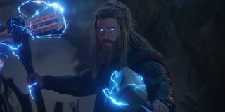 Chris Hemsworth as Thor wielding hammers in Avengers: Endgame