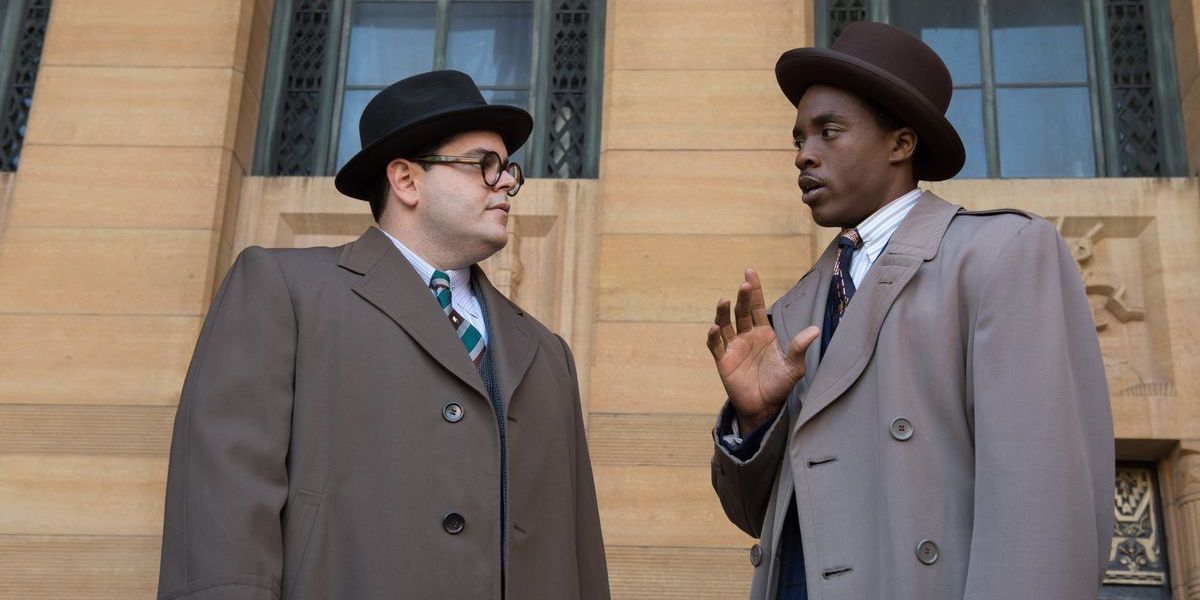 Josh Gad and Chadwick Boseman in Marshall