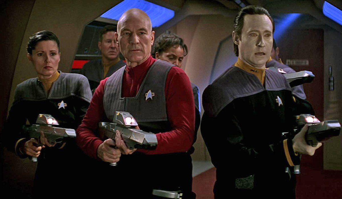 Star Trek: First Contact Picard and Data lead a hunting party through the Enterprise