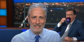 Watch Jon Stewart Reunite With Stephen Colbert As CBS' Late Show Studio Audience Returns