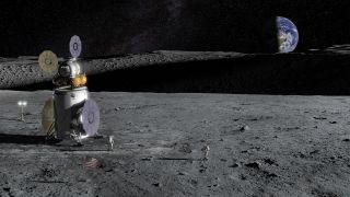 An artist's illustration of an Artemis landing craft at the lunar south pole.