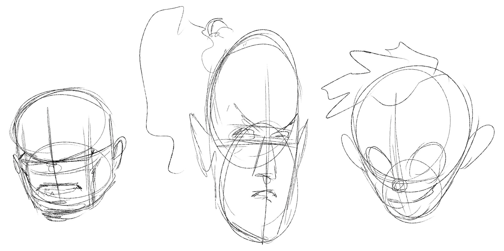 Three heads based on circles of varying proportions