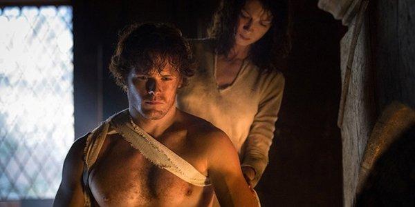 Sam Heughan as Jamie shirtless on Starz's Outlander
