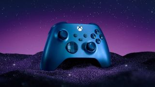 Xbox Wireless Controller - Aqua Shift Edition against a starry backdrop