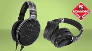 Sennheiser HD650 and Audeze LCD-1 headphones on a green background