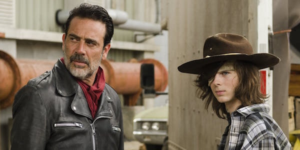 Negan and Carl in The Sanctuary
