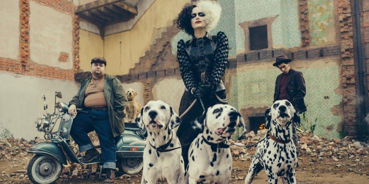 Emma Stone, Paul Walter Hauser, and Joel Fry in Cruella
