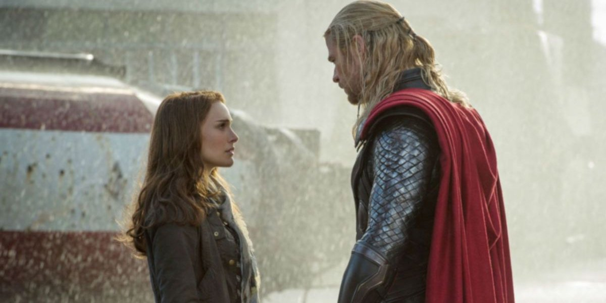 Natalie Portman and Chris Hemsworth in Thor.