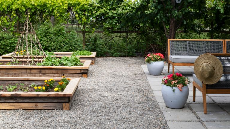 Backyard ideas on a budget, with raised vegetable beds, a gravel walkway and square paved patio area with bench seating.