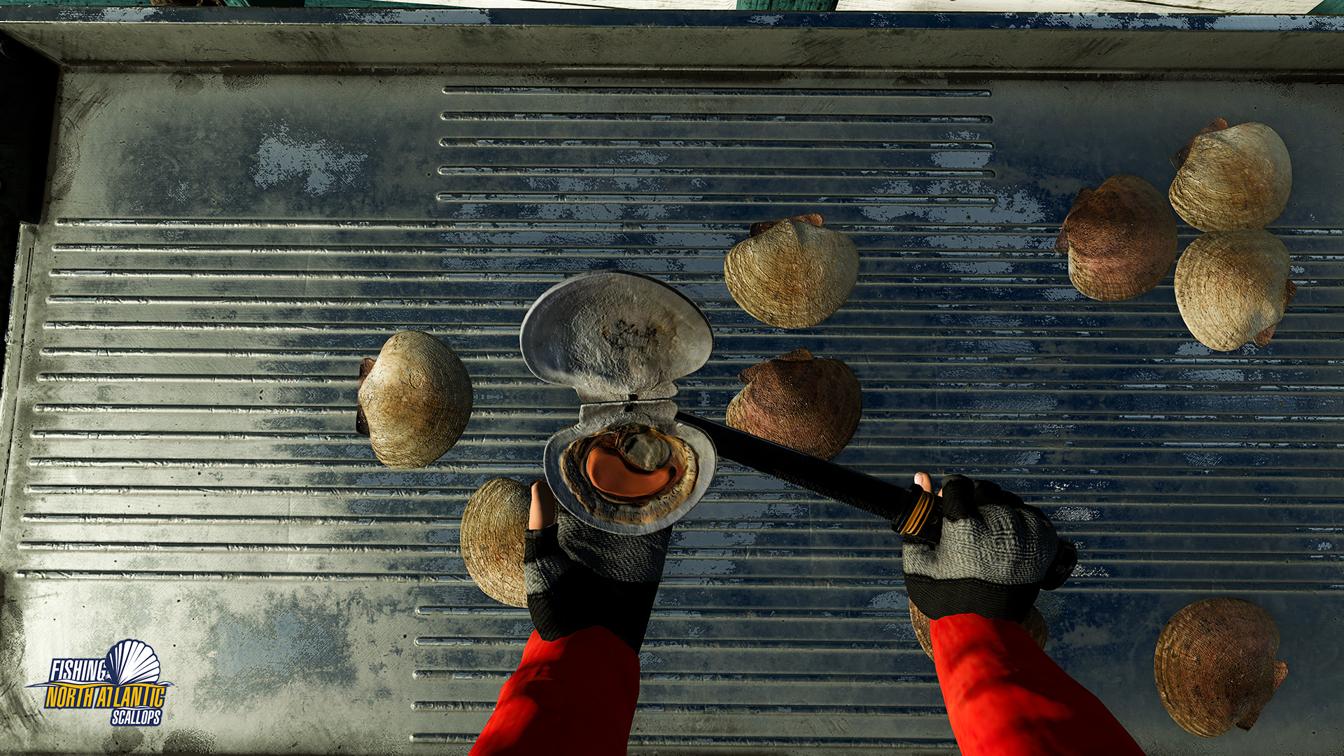 A screenshot from the game Fishing: North Atlantic's Scallops expansion. There are boats and scallops.
