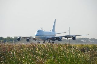 Shuttle Carrier Aircraft Lands #2