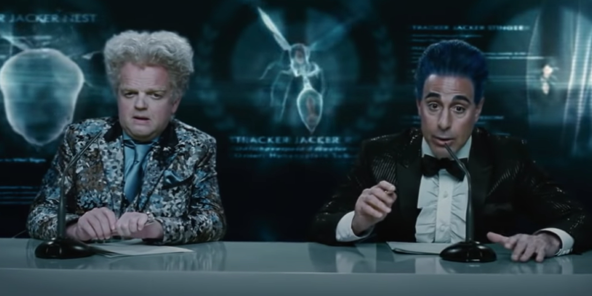 Toby Jone and Stanley Tucci in The Hunger Games