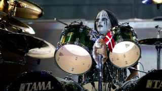 Joey Jordison performing live with Metallica at Download 2004