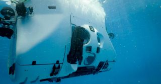 The submersible for the Five Deeps Expedition during its testing.