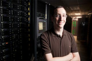 This photo was taken in the Cornell Center for Advanced Computing's (CAC) server room. Scott Golder used the resources of the CAC to store and process data from Twitter.