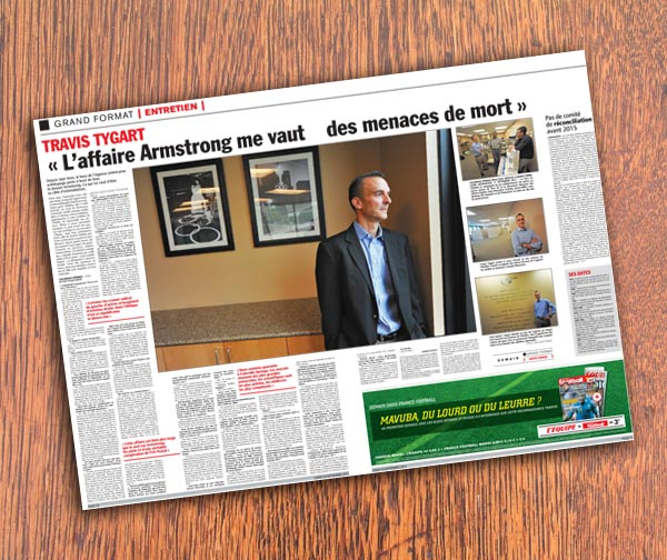 L'Equipe pages - Tygart interview