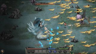 An image from the game Tale of Immortal, a nine-tailed fox woman is battling a human martial artist.
