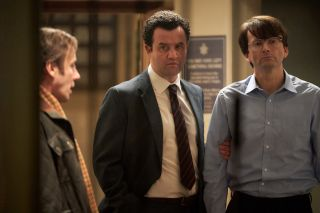 "Detective Chief Inspector Peter Jay (Daniel Mays) with Dennis Nilsen (David Tennant) in ITV's ""Des."""