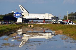 After almost two decades, a full-size space shuttle model was moved on Sunday, Dec. 11, 2011, from Kennedy Space Center Visitor Complex to make space for a real shuttle.