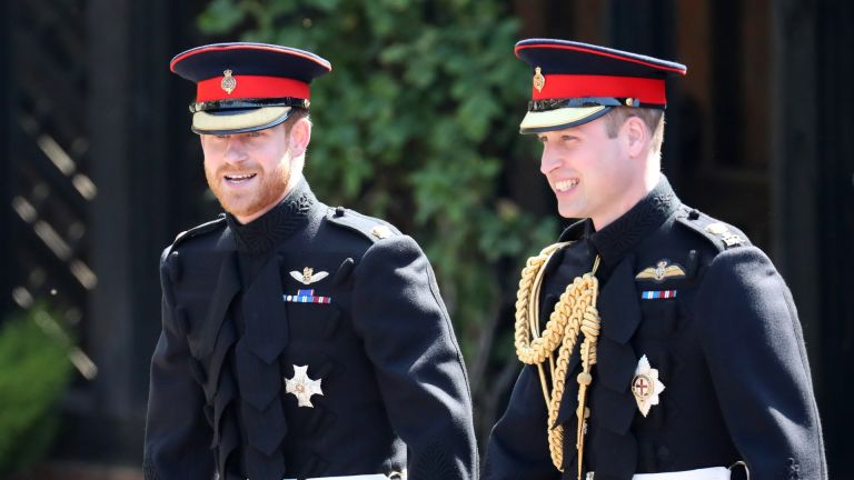 Prince Harry arrives at his wedding to Ms. Meghan Markle with his best man Prince William, Duke of Cambridge at St George's Chapel at Windsor Castle on May 19, 2018 in Windsor, England.