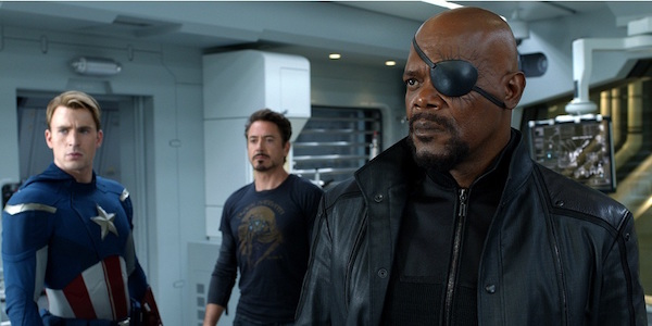 Nick Fury with Captain American and Iron Man In The Avengers