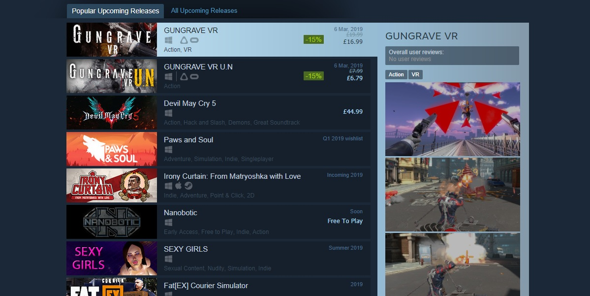Steam's Popular Upcoming list is apparently easy to