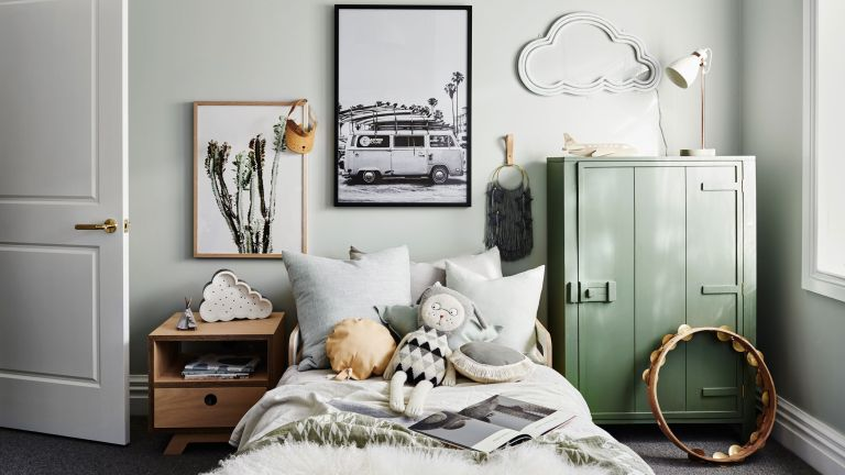 kids bedroom with green grey scheme and contemporary rustic feel by norsu interiors