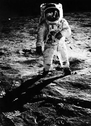 Buzz Aldrin on the surface of the moon, photographed by Neil Armstrong