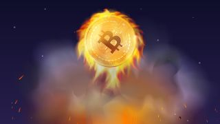 Bitcoin on fire stock image
