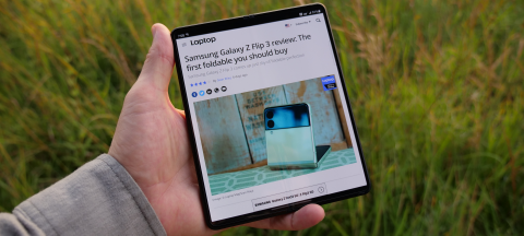 Samsung Galaxy Z Fold 3 unfolded in hand