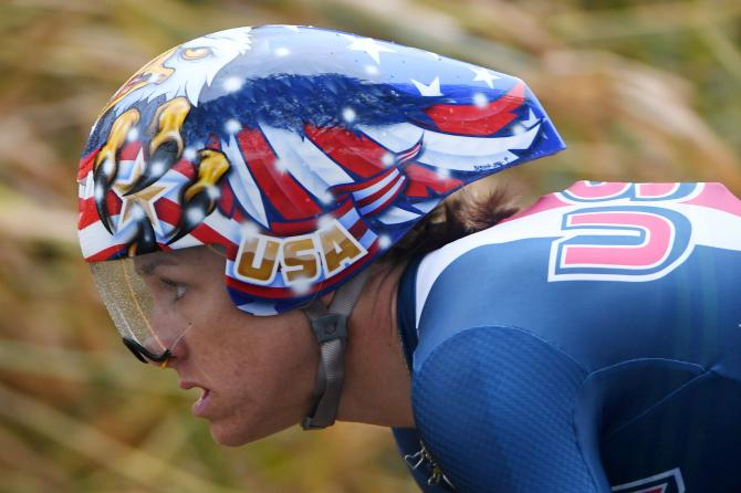 Kristin Armstrong (USA) had a striking helmet