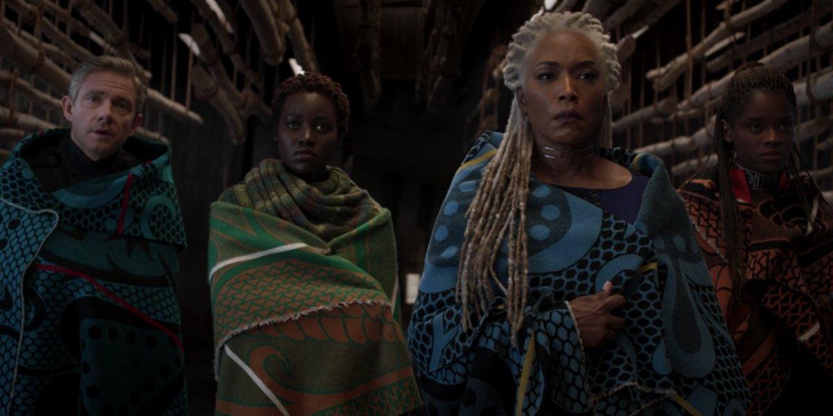 Martin Freeman, Lupita Nyong'o, Angela Bassett, and Letitia Wright in Black Panther