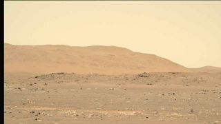 NASA's Mars helicopter Ingenuity (lower right, photographed by the Perseverance rover) didn't get off the ground as planned on April 29, 2021.