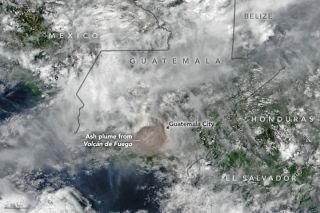 Ash Plume from Guatemala's Fuego Volcano
