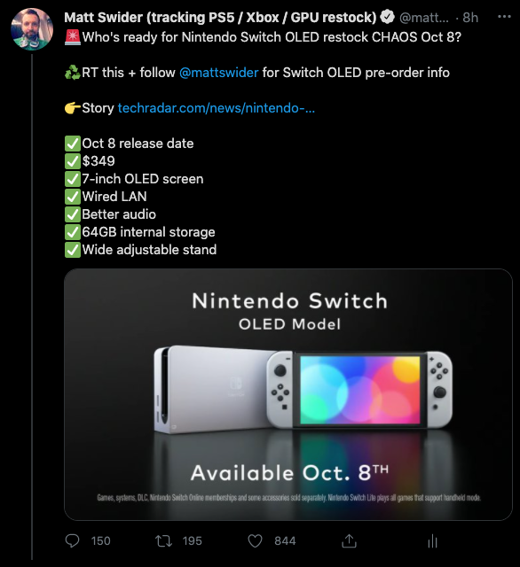 Nintendo Switch OLED tweet by restock Twitter tracker Matt Swider