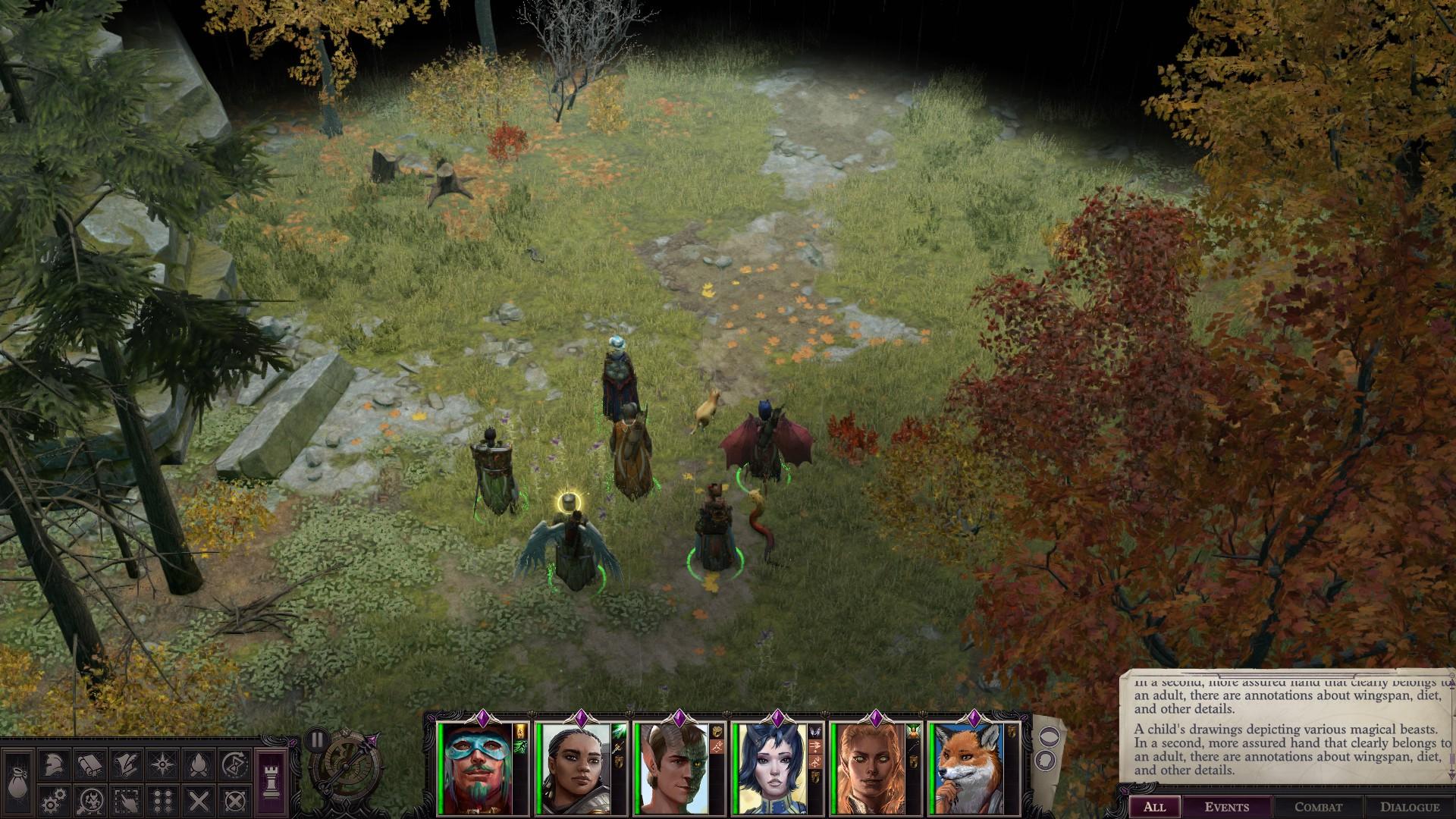 Adventurers cross a green field beneath autumn leaves