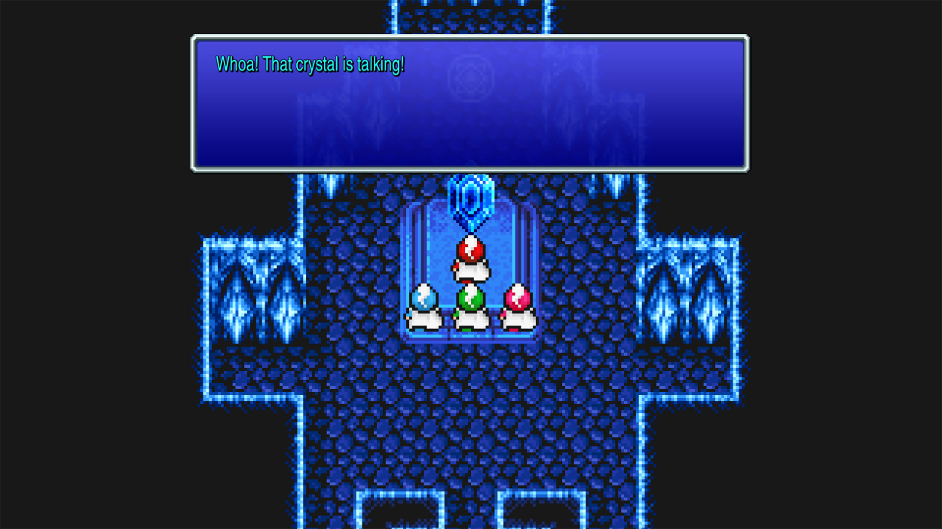 The party obtains the first crystal in Final Fantasy 3 Pixel Remaster