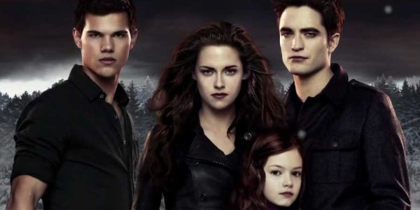 The Twilight Saga: Breaking Dawn Jacob, Bella, Edward, and Renesmee scowl at the camera