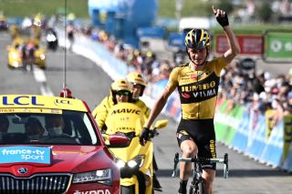 MEGEVE FRANCE AUGUST 16 Arrival Sepp Kuss of The United States and Team Jumbo Visma Celebration during the 72nd Criterium du Dauphine 2020 Stage 5 a 1535km stage from Megeve to Megeve 1458m dauphine Dauphin on August 16 2020 in Megeve France Photo by AnneChristine PoujoulatPool via Getty Images